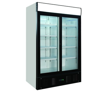 SC1000SD - Upright Double Glass Door Chiller - 2 Sliding Doors - Integral Condenser