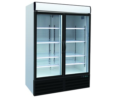 SC1000 Upright Double Glass Door Chiller - 2 Hinged Doors - Integral Condenser